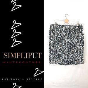 J CREW FACTORY Leopard Basketweave Pencil Skirt 14